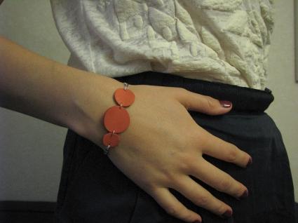 Bracelet en cuir corail